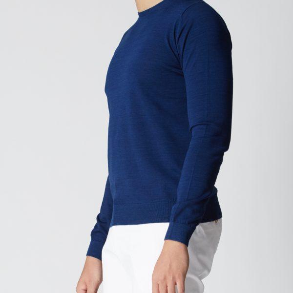 BN Natural Blue Crew Neck Fine Gauge Sweater Long Sleeve (Dark Blue)